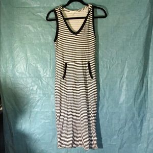 Soft Terry Beach Coverup Hooded Striped Black Med